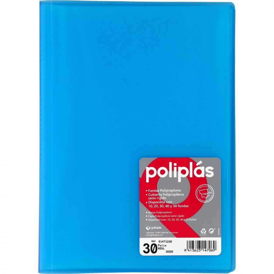 Carpeta Azul Traslucida De 30 Fundas Poliplas Grafoplas