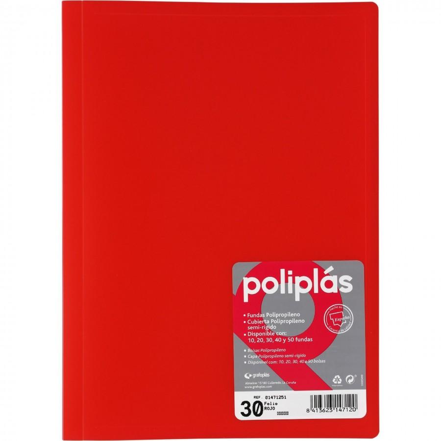 Carpeta Rojo Traslucida De 30 Fundas Poliplas Grafoplas