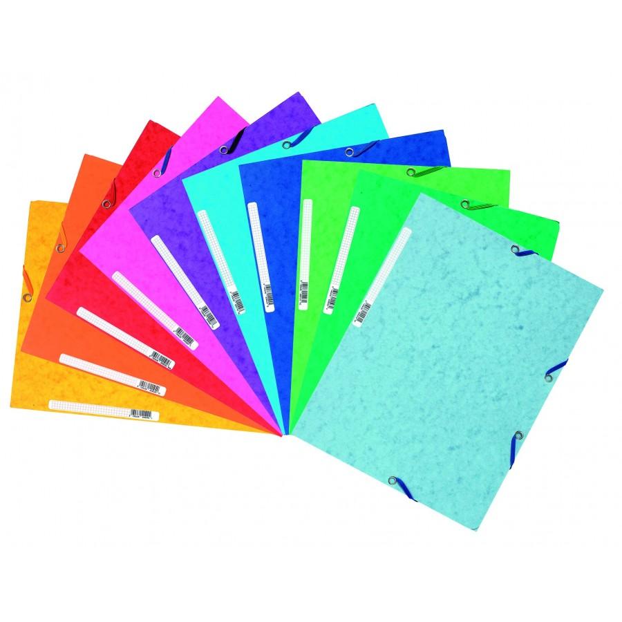 Pack De 10 Carpetas Exacomta Con Gomas Y Solapas En Cartulina 500 Grs Colores Vivos