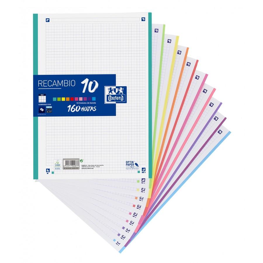Recambio 10 Colores A4 160 Hojas Cuadricula De 5  90 Gramos